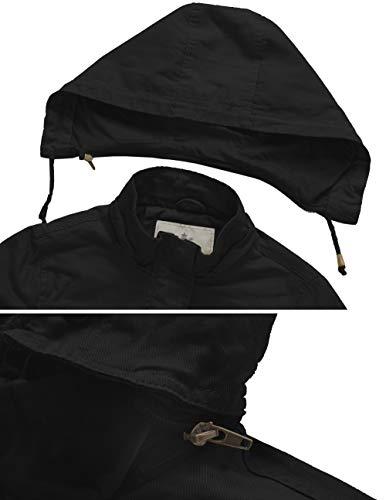 WenVen Giacca Militare in Cotone Giubbotto con Cappuccio Staccabile Antivento Parka da Lavoro Slim Fit Cappotto Casual Media Lunghezza Donna Nero L