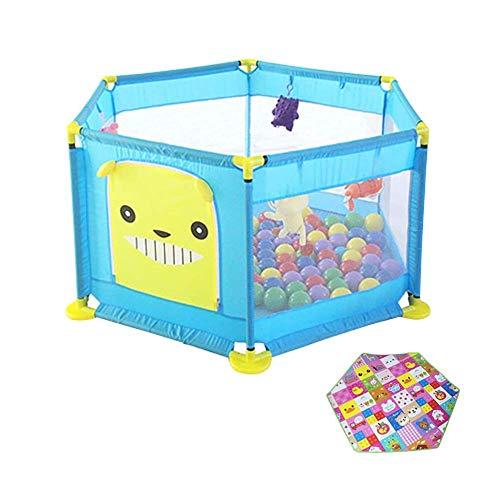 WYJW Playpen met playpen voor baby met matras, activiteitencentrum: anti-rollover park voor peuters, kinderkamerverdeler, 128 keer, 64 cm