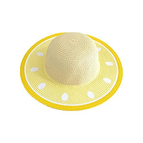 CAREMiLLE Sombrero de Paja para Adultos y niños, Color Bloque, Molde de sandía, Parte Superior Redonda, protección UV, ala, ala de Toro con braw, Beige, Sombrero para el Sol, Beige