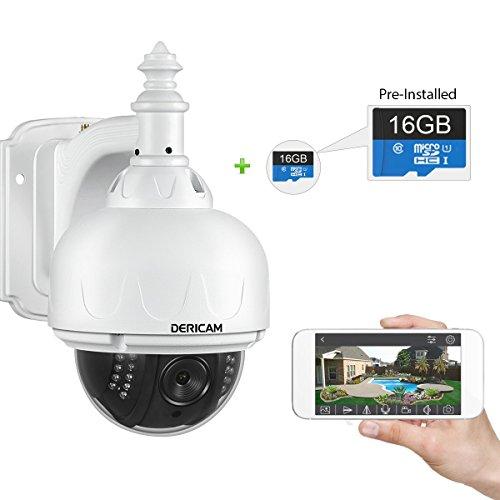 dericam IP Camera Wireless, telecamera di sicurezza esterni, Pan e Tilt fotocamera, con scheda di memoria (preinstallato), colore bianco