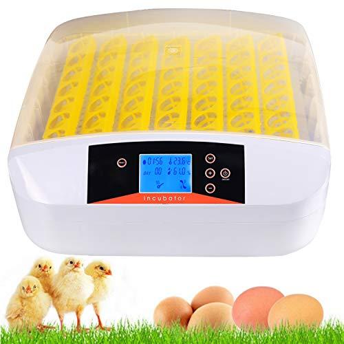 Incubadora totalmente automática para hasta 56 huevos de gallina, con indicador de temperatura LED, alarma de temperatura y humedad para huevos, huevos de pato, huevos de ganso, pavo, etc.