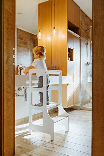 Duck WoodWorks Torre de cocina para niños - Taburete moderno de aprendizaje para niños y niños para uso en cocina y baño - Torre Montessori de madera (blanco)