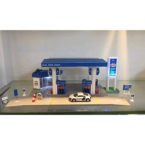 FairOnly Skala Sound + Light Service Tankstelle Shop Straße Auto Spielhaus Spielzeug Set ARAL Petrol Station Combination - Car Random Spielzeug Geschenk