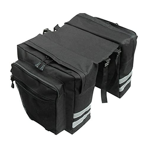 Sacoche de vélo - Double sacoche arrière - En PVC - Étanche - Accessoire de vélo - Indéchirable - Bandes réfléchissantes à l'arrière - Convient pour les vélos, les VTT, etc.