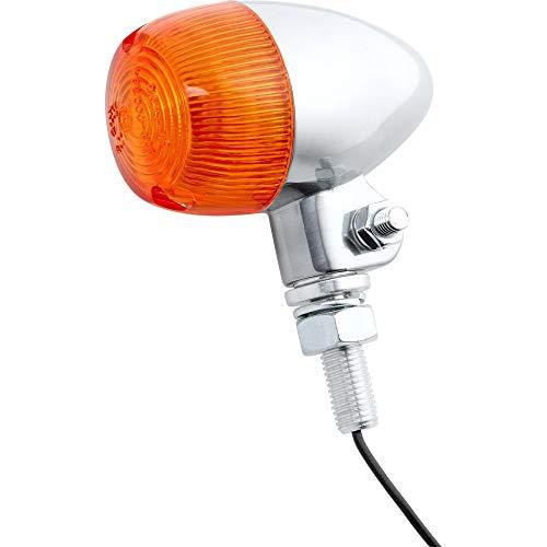 ShinYo Motorrad Blinker E geprüft Blinker Bullet Light 1 12V/21W M10 Stange Alu poliert, Unisex, Multipurpose, Ganzjährig, Aluminium, Silber