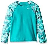 Speedo Printed Long-Sleeve Rashguard Camiseta de Natación de Manga Larga, Azul (New Turquoise), XS para Niñas