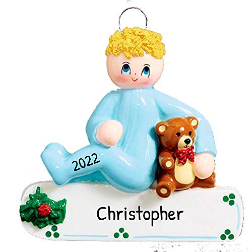 Personalized Toddler Boy Teddy Bear Christmas Tree Ornament 2020 - Blonde Baby Child Pajamas First Steps Milestone Story Mom PJs Lover Yellow Hair Kid Grand-Son - Free Customization (Yellow)