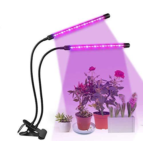 ENCOFT Pflanzenlampe LED 20W Pflanzenlicht Pflanzenleuchte 2 Heads 40 LEDsWachsen licht Vollspektrum Wachstumslampe für Zimmerpflanzen mit Zeitschaltuhr 3 Arten von Modus 10 Arten von Helligkeit(2)