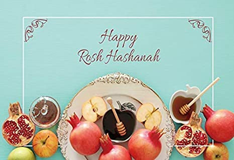 Happy Jewish New Year Backdrop 5x3ft Rosh Hashanah Photography Background Vintage Wooden Wall Hanging Honey Pomegranate Apple Countryside Holiday Greet Family Portrait Shoot Decor Poster