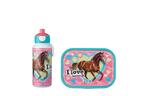Mepal Pausenset Campus My Horse – Trinkflasche und Brotdose mit Bento-Einsatz – ideal für Schule und Freizeit – spülmaschinenfest, ABS, 0 mm, 2
