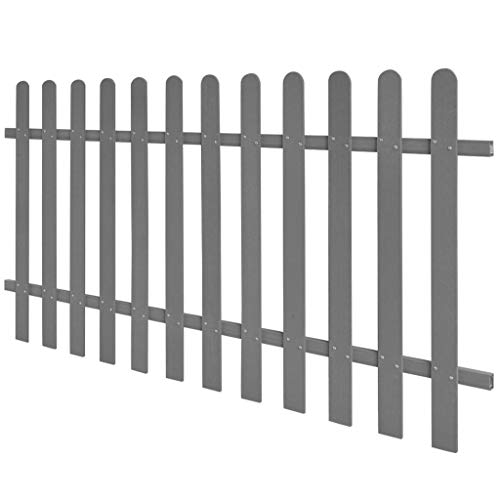UnfadeMemory WPC Lattenzaun Gartenzaun mit 12 Latten Terrassenzaun aus Holz-Faser-Verbundwerkstoff Außenbereich WPC-Zaun 60/80/100/120cm Optional (200 x 100 cm, Grau)