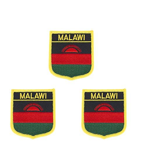 Malawi-Flagge, bestickt, zum Aufbügeln oder Aufnähen, 3 Stück