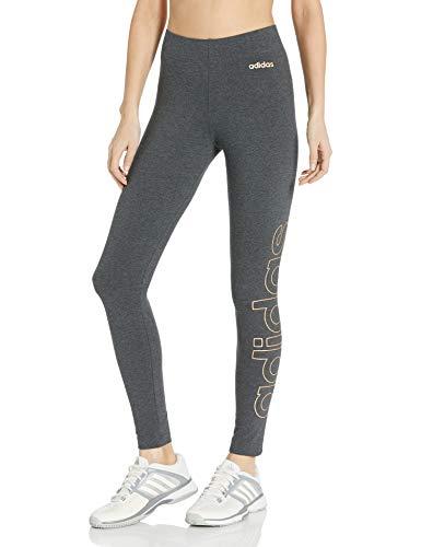 Adidas Medias de Marca Essentials para Mujer, Mallas de Marca Essentials, Gris Oscuro Jaspeado/Cobre, Large