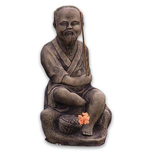 Asiate beim Angeln Gartenfigur Steinfigur Angler Figur Deko Blickfang Thailand Steinfigur XXL 46 cm hoch