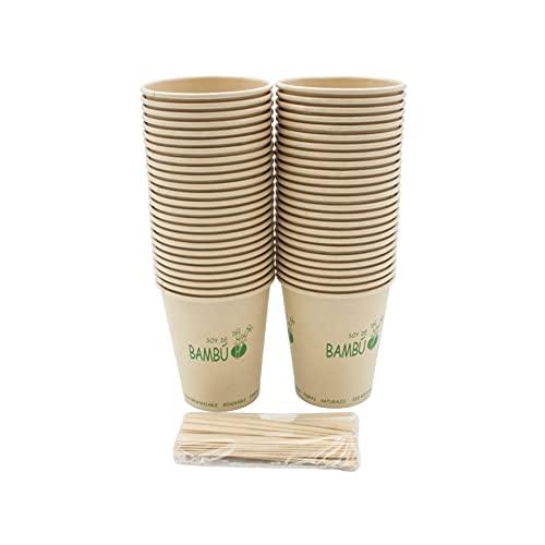 8around - 50 bicchieri da caffè usa e getta da 240 ml in bambù, bicchieri da tè da asporto con 50 paletine. Bicchiere in fibre naturali eco-responsabili, rinnovabile.