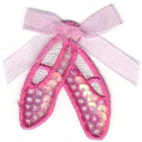 Pink Ballet Dance Ballerina Slippers Shoes Embroidery Sequin Patch nyKE-147