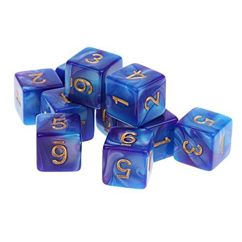 MagiDeal 10 Stück D6 16mm sechsseitig Acryl Dice, Doppel Farben Würfel, Würfelspiele für Party, Brettspiel, Kartenspiel, Lehre Mathe, RPG Spiel - Blau + Lila