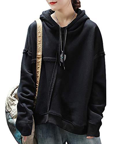 YESNO Women Casual Patchwork Drawstring Hoodie Fleeced Sweatshirt Stitched Cuff Unique Hemline Pullover Top Long Sleeve KB9