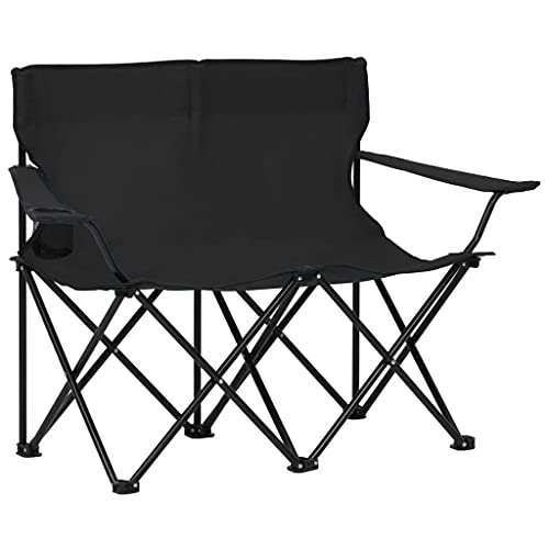 vidaXL Campingstuhl 2-Sitzer Klappbar Faltstuhl Klappstuhl Anglerstuhl Gartenstuhl Regiestuhl Stuhl Getränkehalter Stahl Stoff Schwarz