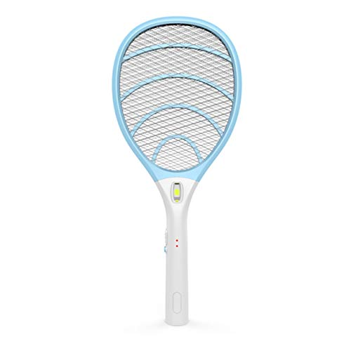 Rechargeable Electric Powerful Bug Zapper Fly Swatter Racket, Handheld Wasp Mosquitoes Flies Insects Killer Racquet for Indoor and Outdoor Pest Control Bat, eco Friendly Safe 4000 Volt, Blue/Gray