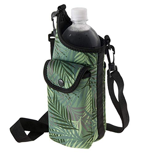 Smooth Trip Neoprene Water Bottle Carrier Bag with Adjustable Strap and Phone Case (Fern)