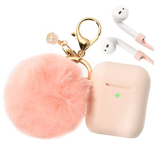 Filoto Airpods Case, Airpod Case Cover for Apple Airpods 2&1 Charging Case, Cute Air Pods Silicone Protective Accessories Cases/Keychain/Pompom/Strap, Best Gift for Girls and Women, Cividini Pink
