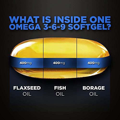 Omega 3-6-9 1200 mg - 100 pz (Scorta 3+ Mesi) di Softgel Capsule a Disgregazione Rapida con 1200mg di Olio di Pesce, Olio di Borragine e Olio di Semi di Lino Qualità Premium, di TUDIMO