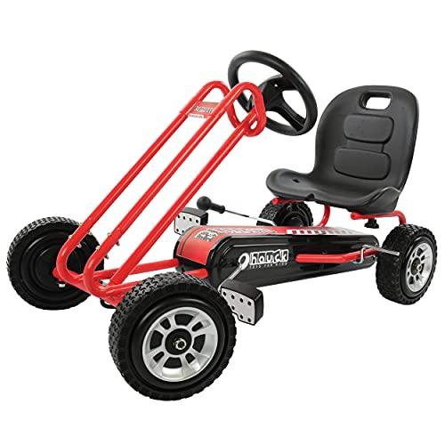Hauck Toys for Kids GoKart Blizzard - Pedal Go-Cart / Tretauto mit Handbremse und verstellbarem Sitz für Kinder ab 4 Jahre - Rot