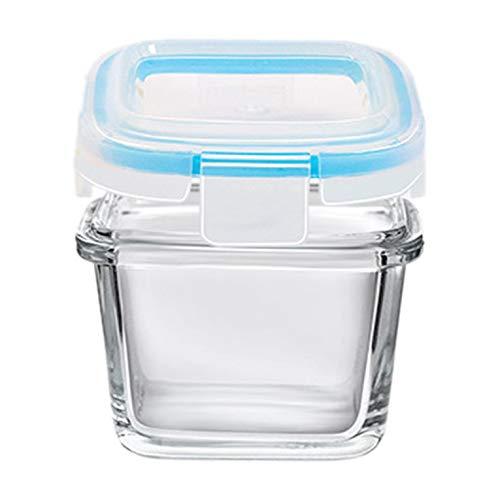 QiKun-Home Productos prácticos para bebés con Tapa Suplemento alimenticio de Vidrio Templado Caja de conservación de Alimentos Caja sellada para Almacenamiento de Alimentos Azul