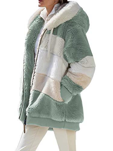 Onsoyours Manteau Femme Hiver Mode Manche Longue Peluche Veste Courte Cardigan Chaud Zippée Jacket Coat Couleur Unie Outwear Streetwear Parka Blouson A Vert XL