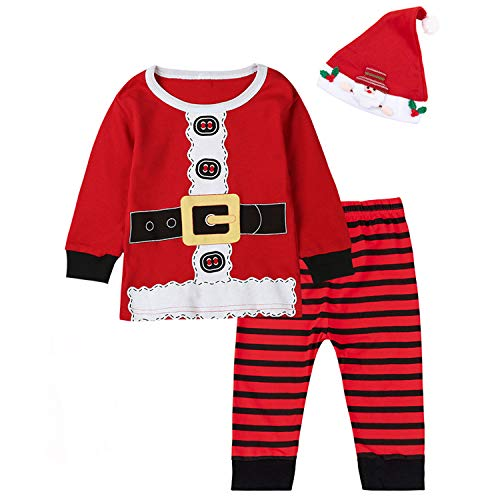 Baby Boys Girls Christmas Santa Claus Costume Pajama Outfit Clothes Set (Red01, 18-24 Months)