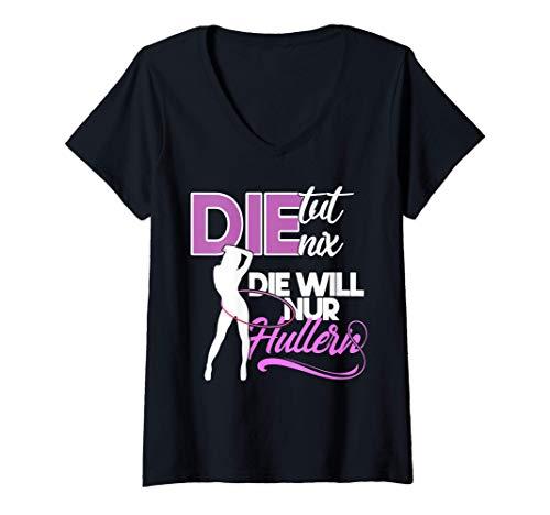 Damen Damen die tut nix Hullern Hula Hoop Sport Outfit Fitness T-Shirt mit V-Ausschnitt