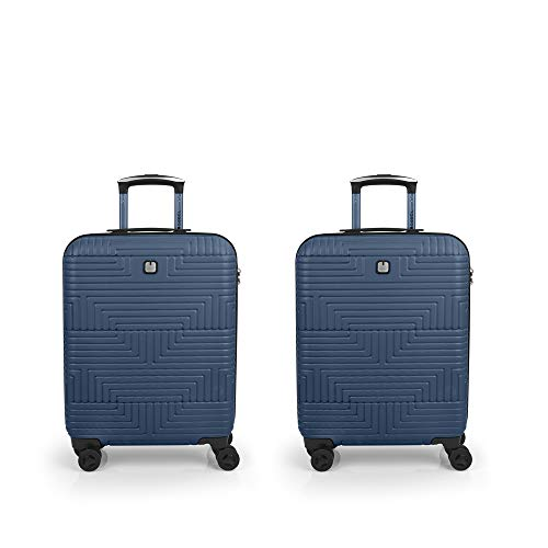 Gabol Shock | Rigid Travel Suitcase Set Blue with 2 Cabin Suitcases