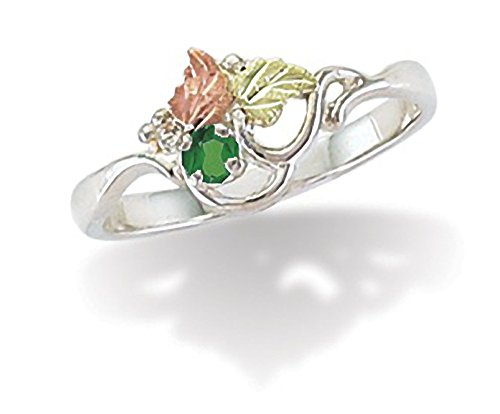 Sterling Silver Black Hills May Birthstone Ring with 3 MM Round Synthetic Emerald - Ring Size 8