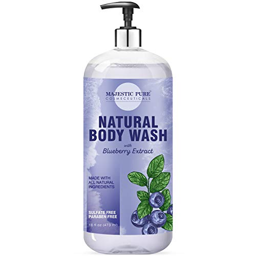 Majestic Pure All Natural Body Wash with Blueberry Extract - for Body, Face and Hand - Liquid Soap, Sulfate Free & Paraben Free, for Women and Men - 16 fl oz