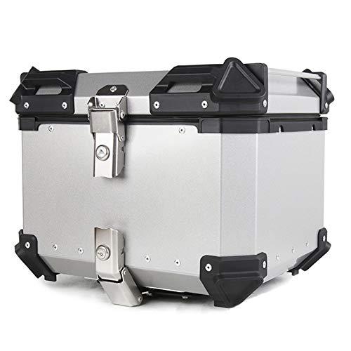 LUKUCEA Topcase Motorradkoffer 36 Liter, Wasserdicht und kollisionssicher Monokey mit Alu Cover Top case universal, Helmkoffer für Roller, Motorrad, Mofa & Quad,Silber