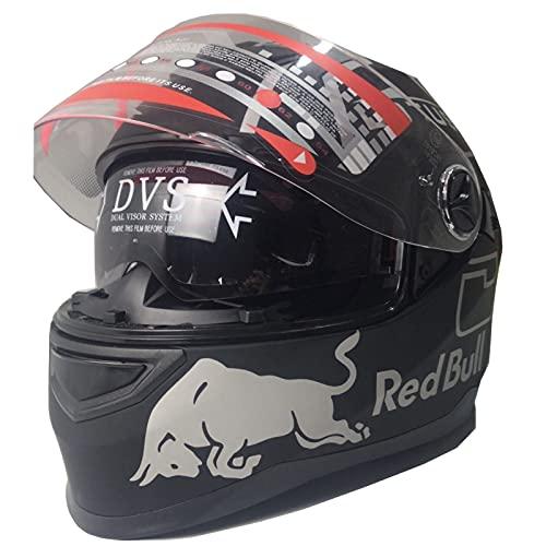 TKTTBD Casco Integral Moto Cascos Moto, Homologado ECE con Visera Red Bull Casco De Moto Integral Forro Extraíble Deducción Rápida para Unisex Adultos A,XXL