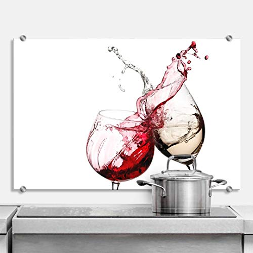 Pannello paraschizzi - Bicchieri di vino - con fissaggio a morsetto in acciaio inox (80 x 60 cm, vetro di sicurezza)
