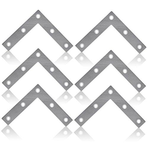 WINOMO 10pcs acier angle Brace chevrons plaque fixe connecteur réparation feuille 80 mm * 80 mm (L-forme)