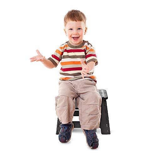 ACSTEP Acko Folding Step Stool Lightweight Plastic Step Stool (2 Pack 9 inch) Foldable Step Stool for Kids,Non Slip Folding Stools for Kitchen Bathroom Bedroom Black