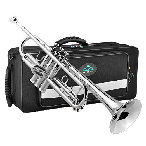 EastRock Nickel Plated Trumpet Bb Brass Standard Trumpet with Hard Case, Gloves,Cloth,Valve Oil, 7C Mouthpiece, Musical Instruments for Student Beginner or Experienced Kids, Adults