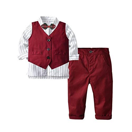 Traje formal de los muchachos, juego de ropa de niño 3pcs manga larga Bowtie camisa+chaleco+pantalones traje casual rojo vino 0-4T - rojo - 2-3 años