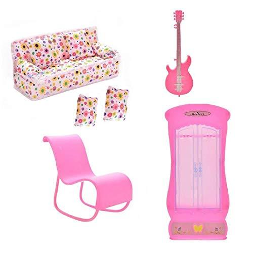 OMMO LEBEINDR Puppenstubenmöbel Puppe Spielzeug Möbelzubehör Mini-Sofa-Couch Gitarre Kleiderschrank Schaukelstuhl Kissen Zubehör für Puppe, Spielzeug 6Pcs