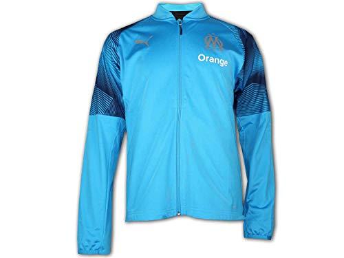 PUMA Herren Trainingsjacke Olympique de Marseille Poly Jacket with Sponsor Logo with zi, Bleu Azur-Puma Black, S, 754652