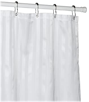 shades of white striped shower curtain