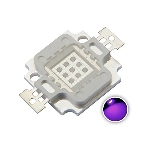 Chanzon High Power Led Chip 10W Purple Ultraviolet (UV 395nm / 900mA / DC 9V-11V / 10 Watt) SMD COB Light Emitter Components Diode 10 W Ultra Violet Bulb Lamp Beads DIY Lighting