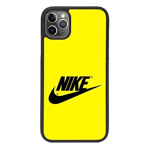 zoilastore Benutzerdefinierte Hülle kompatibel mit Nike auf gelbem mobilen Hintergrund für Apple iPhone 11 Pro Max Flexibler schwarzer TPU-Rand aus Gummi