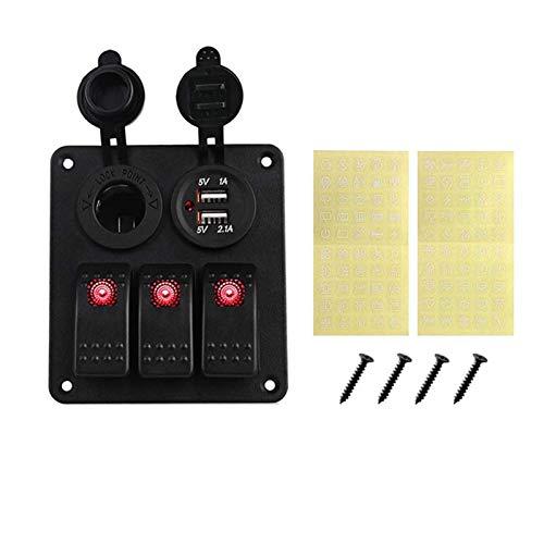 LED 3 Gang Rocker Switch Panel Power Socket 3.1A Dual USB Cableado Kits y etiqueta engomada etiquetas DC12V 24V para barco marino coche (3 bandas rojo)