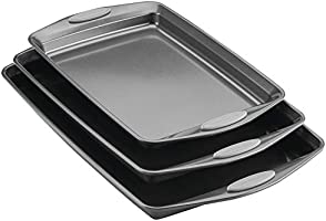 Rachael Ray Nonstick Bakeware Set with Grips, Nonstick Cookie Sheets / Baking Sheets - 3 Piece, Gray with Sea Salt Gray...