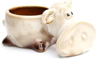 Amgker Creative Ceramic Mini Flower Pot High Temperature Color Porcelain Decoration Garden Animal Desktop Decoration Cute Auspicious Gift Flower Container Succulent (Color : Pig)